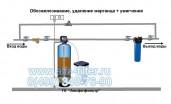 Очистка воды на даче удаление железа, жесткости воды  в одном баллоне без аэрации  Схема № 4
